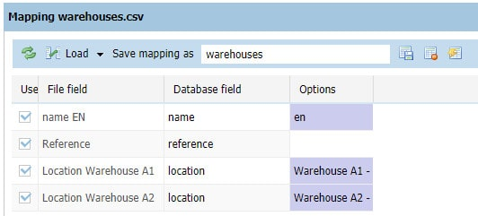 Specifying the location of my products in warehouses using the CSV